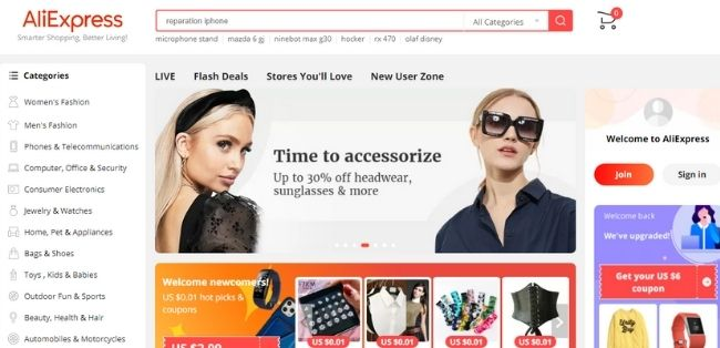Chinese ecommerce sites aliexpress